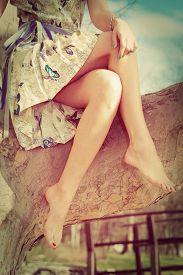 stock photo of crossed legs  - barefoot woman legs - JPG