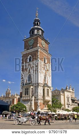 Krakow, Poland - August 1, 2015: Town Hall Tower On 1 August 201