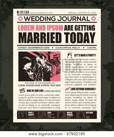 Newspaper Wedding Invitation Design Template