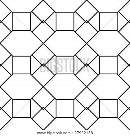 Black And White Geometric Seamless Pattern With Square Triangle And Hexagon, Abstract Background.