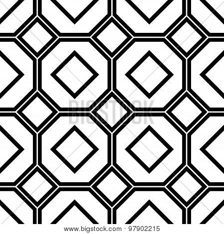 Black And White Geometric Seamless Pattern With Line, Square And Octagon, Abstract Background.