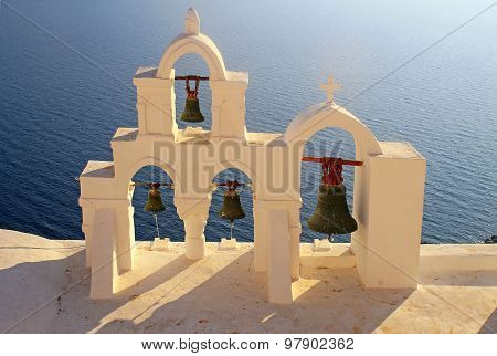 Bell Tower Of White Church, Oia, Santorini, Greece