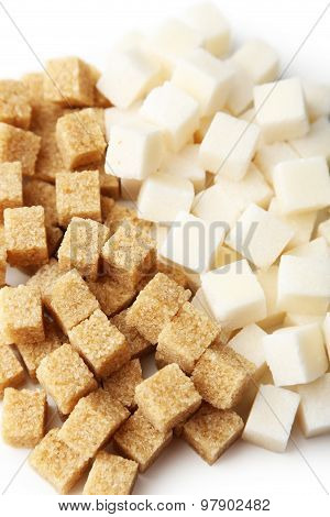 Brown And White Sugar On White Background