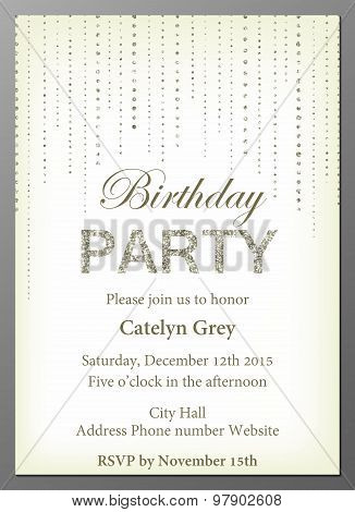 Glittering Birthday Party invitation