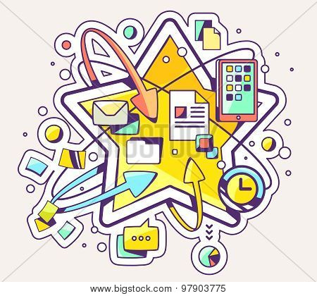Vector Colorful Illustration Of Social Media And Big Star On Light Background.