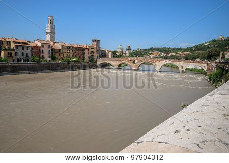 View Of The Adige River And St Peter Bridge Arch, Verona,
