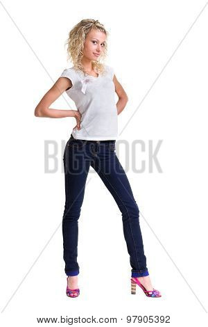 young woman standing full body in jeans wear