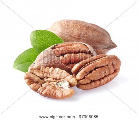 Pecan nuts in closeup