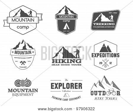 Set of monochrome outdoor adventure explorer camp badge, logo and label templates. Travel, hiking, c