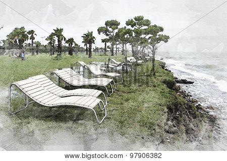 Watercolour Effect Seaside Resort, Chaise Longue, Sea, Palm Trees, Landscape