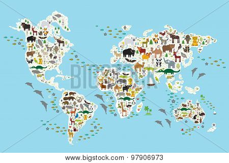 Постер, плакат: Cartoon animal world map for children and kids Animals from all over the world white continents an, холст на подрамнике