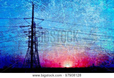 Power line in blue