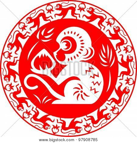 Red monkey zodiac on circle symbol (monkey holding peach)