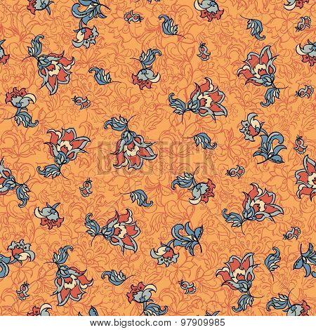 textile floral seamless pattern. retro vector background