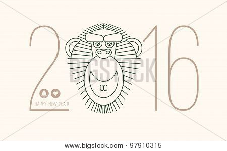 2016 calendar for chineese new year of monkey. Chinese new year