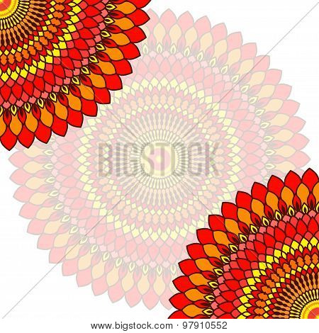 Hand Drawn Lace Card Background.ornamental Floral Abstract Sunshine Template