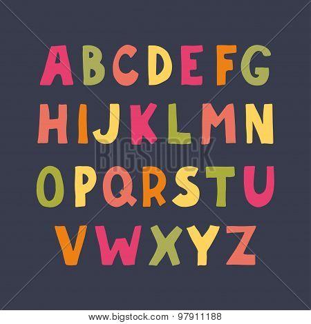 Colorful Hand Drawn Doodle Sans Serif Alphabet