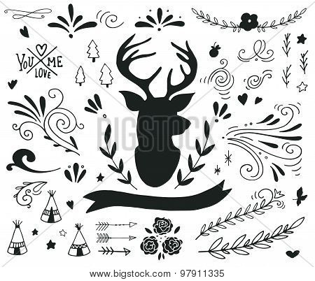 Hand Drawn Vintage Set With A Reindeer And Different Design Elements