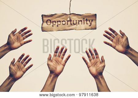 hands reaching out to get opportunity