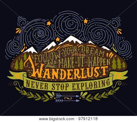 Hand Drawn Vintage Label With Mountains, Forest And Lettering On Blackboard
