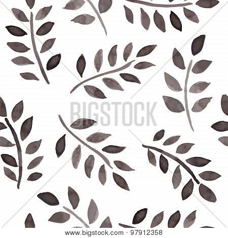 Seamless Pattern With Ink Foliage On A White Background