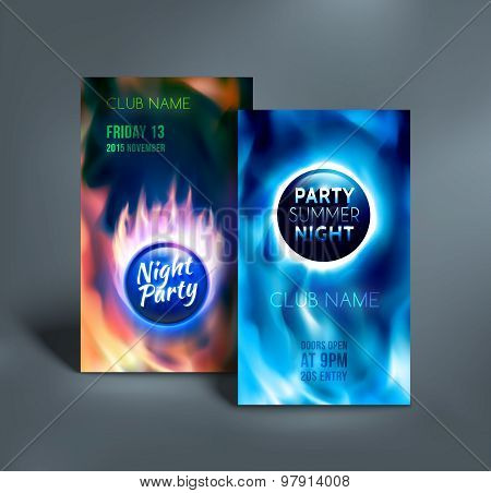 Night club colorful flyer templates. Vector illustration