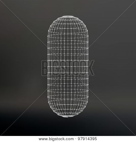 Wireframe mesh Polygonal capsule. The capsule of the lines connected dots. Atomic lattice. Driving c
