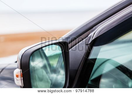 The Side Mirror Of A Car