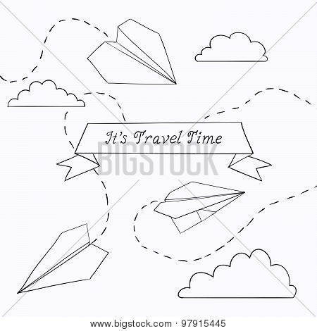 Vector Illustration With Paper Plane