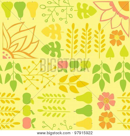 Seamless Autumn Pattern With Flowers And Foliage On A Yellow Background