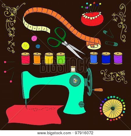 Vector Sewing And Needlework Set