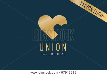 Heart Icon vector logo template. Love, health, doctor or relations, wedding, foundation, gold symbols. Stock design element