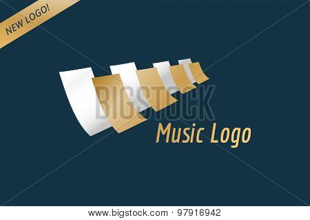 Music piano keys logo icon template. Melody, classic, note symbol or paper, book, jazz song, royal buttons. Design element