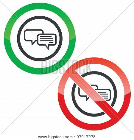 Chatting permission signs