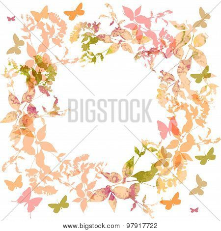 Spring background, Colorful butterflies set wreath with pink leaves, watercolor. Round banner for te