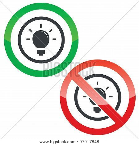 Light bulb permission signs