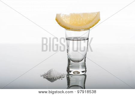 Shot Of Tequila With Lemon And Salt