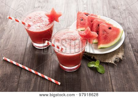 Healthy Watermelon Smoothie With Of Watermelon In Star Shape On A Wood Background.