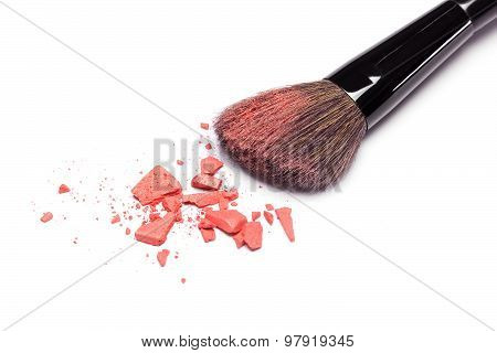 Crushed Powder Blush Orange Color With Makeup Brush