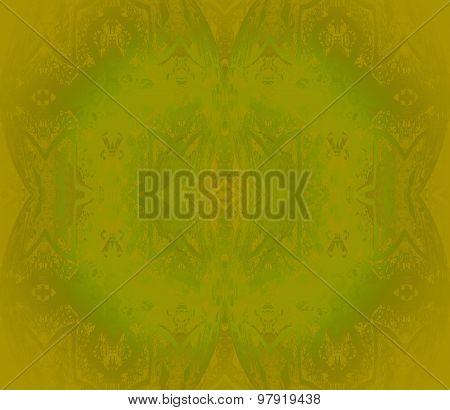 Seamless floral pattern golden green