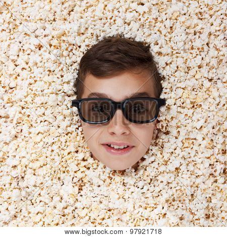 Grinning, Flaunt Young Boy In Stereo Glasses Looking Out Of Popcorn