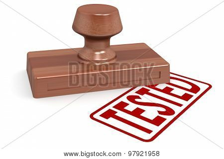 Wooden Stamp Tested With Red Text