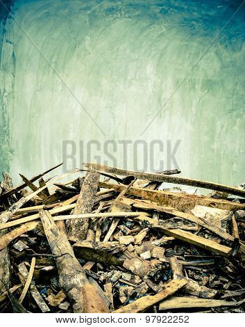 Cement Wall And Scraps Of Wood Ground,texture Background