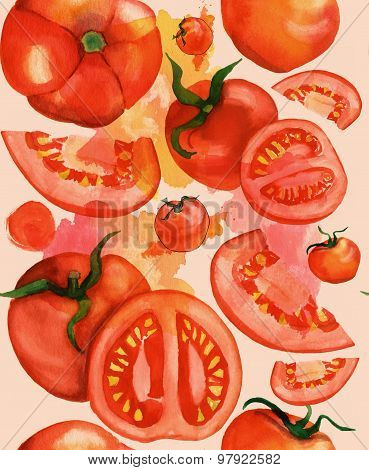 Seamless watercolor tomatoes background, toned