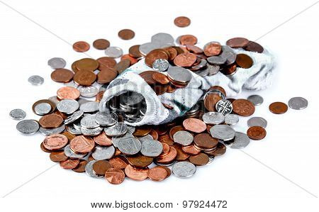 Full Of British Coins Socks Isolated On White Background
