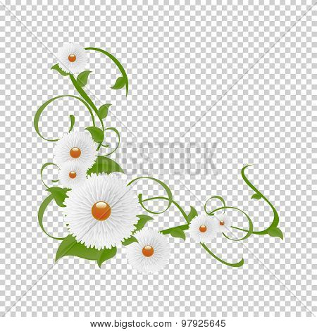 Vignette of flowers and greenery.Vector floral vine