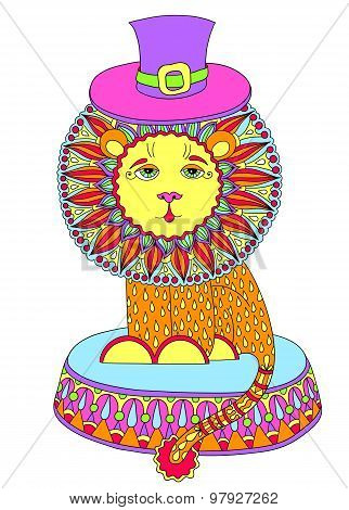decorative colored line art drawing of circus theme - lion in a