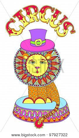 colored line art drawing of circus theme - lion in a hat with in