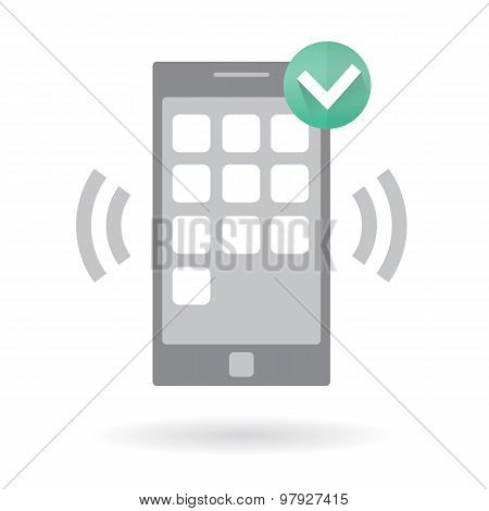 Mobile smart phone with alarm notification.