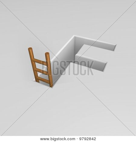 Letter F And Ladder